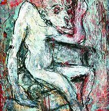 The Rehearsal aus der Serie Holocaust theater des expressionistischen Künstlers Stefan Krikl zeigt eine Theaterszene aus einer Hamletparodie im KZ