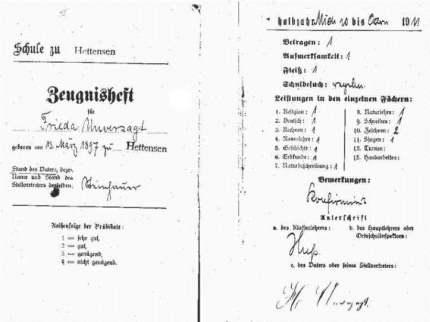 Entlassungzeugnis von Frieda Unverzagt, 1911. Quelle: http://bit.ly/MRHjUL